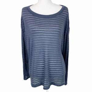 14th & Union Sheer Striped Sweater Boatneck
